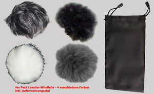 net4web 4er Pack Windfell f. Lavalier-Mikrofone (4 versch. Farben), inkl Etui