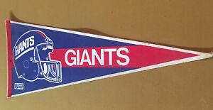 Vintage NFL  New York Giants Full Size Felt Red, Blue, & White Pennant 1986