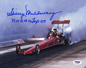 Shirley Muldowney SIGNED 8x10 Photo + NHRA Top 50 Dragster PSA/DNA AUTOGRAPHED