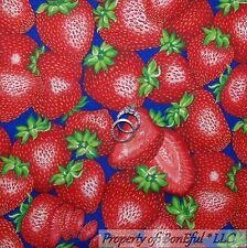 BonEful Fabric FQ Cotton Quilt Blue Red BIG Large L Strawberry Flower Green Stem