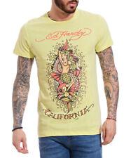 BNWOT Mens Ed Hardy Cali-Maid Mermaid Adults Lemon Yellow Cotton T-Shirt Tee L