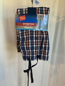 Hanes Men's Size 2XL 44-46 Plaid Blue Red Tagless Woven Lounge Sleep Pant NWT