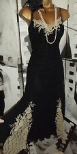 Stunning ❤️ Wallis Long Black Lace Detail Dress Size 12 Gatsby DOWNTON 1920's