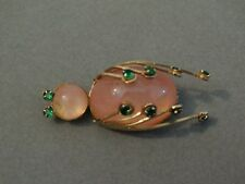 Awesome Vintage Pink Jelly Belly Bug with green Rhinestone Accents Pin Brooch