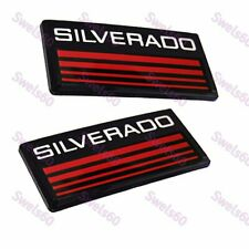 New Cab Emblems 3d Badge Side Roof Pillar Decal Plate For Chevy Silverado Red X2