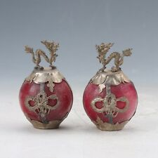 A pair Collectible Decor Old Jade & Tibet Silver Loong Statue Z86