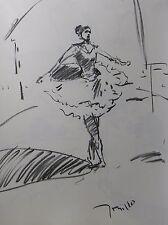 JOSE TRUJILLO ABSTRACT MODERNIST ORIGINAL CHARCOAL DRAWING BALLET BALLERINA