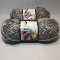 Lion Brand Hometown USA Springfield Silver Super Bulky Yarn Lot Of 2 Acrylic