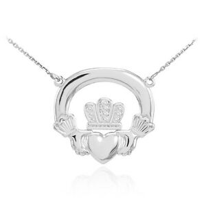 14K White Gold Classic Irish Claddagh Pendant Necklace (Made in USA)