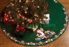 "Bucilla Christmas Cookies ~ 44"" Felt Tree Skirt Kit #86149, Santa & Elves Baking"
