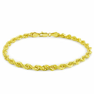 """10k Yellow Gold Real Authentic 3mm Hollow Diamond Cut Rope Chain Bracelet 9in 9"""""""