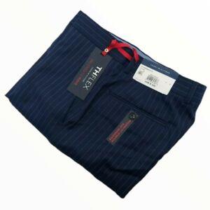 Tommy Hilfiger Tyler THFLEX Striped Wool Blend Stretch Pants Blue Men's 34 x 30