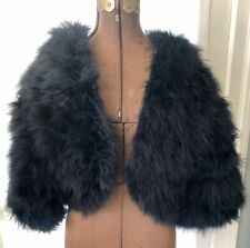 New listing Vintage Ralph Montenero For Blanche Black Marabou Feather Cropped Jacket