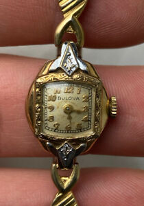 Antique Bulova 10kt Gold Filled Diamond Ladies Watch