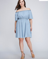Lane Bryant Chambray Off The Shoulder Fit Dress Plus 14/16 18/20 26/28 ~1x 2x 4x