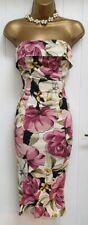 Stunning Karen Millen Floral Strapless Wiggle Occasion dress UK 8