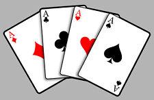 CARRE D'AS FOUR ACES POKER CARDS HOT ROD  12cm AUTOCOLLANT STICKER (FA111)