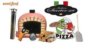brick outdoor wood fired Pizza oven 90cm brick red Deluxe black door (package)