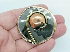 Interesting Vintage Copper Modernist Artistic Pin Brooch