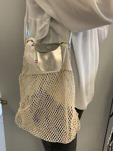 Sac filet Le Pliage Type Longchamp - NEUF Modèle Atelier Portier Cuir Argent