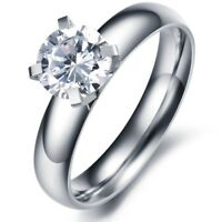 4mm Titanium Steel Gift AAA CZ Band Women's Engagement Silver Ring Size 5/6/7/8