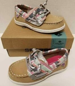 Kids Girls Sperry Songfish Jr. Sparkle Stripe Tan Toddler Size US 10M Shoes NIB