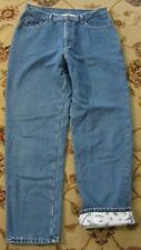 LL BEAN DOUBLE L FLANNEL LINED RELAXED FIT JEANS SIZE 16 M/T