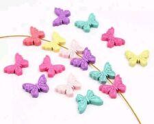 10 farfalle in legno  per catenella portaciuccio