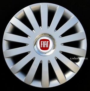 """Full set silver/black 14"""" wheel trims, hubcaps to fit FIAT 500 ,Punto"""
