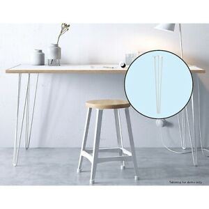 Set of 4 Industrial Retro Hairpin Table Legs 12mm Steel - 71cm White