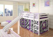 Kids Loft Bed with Slide and Purple Zebra Tent