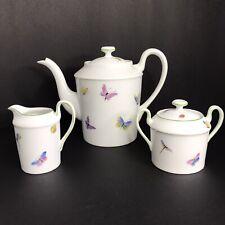 Limoges Edith Jensen Mayhew Teapot Sugar Creamer Set Butterflies Ladybug