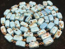 Vintage Art Deco Cube Murano Venetian Glass Beads on Wire Blue Speckle Estate