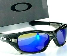 NEW* Oakley PIT BULL Grey Smoke w POLARIZED Galaxy BLUE lens Sunglass