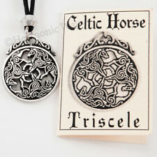 Goddess Pendant Triple Horse Jewelry Celtic Horse Necklace Epona Equine