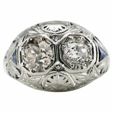 Vintage Art Deco Diamond Sapphire Ring Old mine cut Platinum Filigree