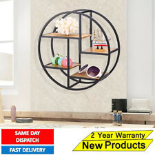 Industrial Style Wood Metal Craft Round Wall Shelf Display Rack Storage Decor