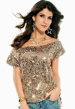 Off the shoulder Sequin Oversized Tee T shirt Blouse Taupe Gold Copper 25078