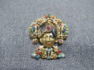 Antique Czechoslovakia enamel rhinestones golden blackamoor pin brooch Neiger ?