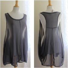 Comfy USA- Sz M -Gray Mesh Sculptural Lagenlook Vest Oversized Funky Top Shirt