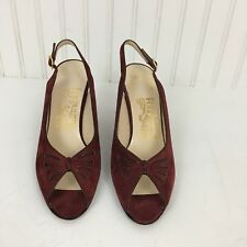 Salvatore Ferragamo 7AA Red Suede Leather Peep Toe Slingback heels narrow