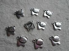 14 Tibetan Style Breloques-antique silver ~ Large Cat ~ Kitty