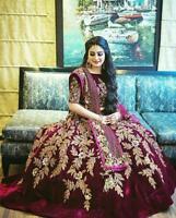 Bridal Wine Lehenga Lengha Choli Bollywood Indian Party Wear Pakistani Choli