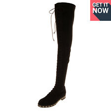 RRP €840 LE SILLA Leather Over Knee Boots EU39 UK6 US9 Vibram HANDMADE in Italy