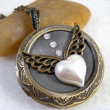 Pearl Heart Angle Wing Vintage Brass Round Picture Locket Pendant Necklace