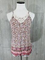 Knit Works Crochet  Floral Tank Top Size L