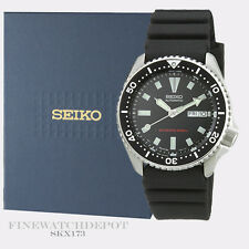Authentic Seiko Diver's Polyurethane Automatic Black Watch SKX173