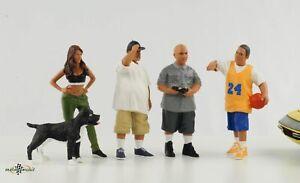 Lowriders Cool Mann Frau Hund Figur Set 4 Figuren 1:18 American Diorama