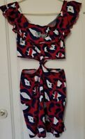 Coogi Red & Blue Cheetah Print Dress Size Large