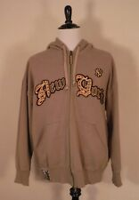 Vintage Majestic NEW YORK YANKEES Beige Embroidered Zip Up Hoodie Mens Size 2XL
